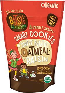 Bitsy's Organic Smart Cookies, Sweet Potato Oatmeal Raisin, 5 Ounce Gusset Bag, Healthy Organic Nut-Free Snacks with Fruits and Vegetables for Kids