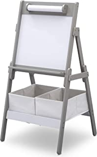 كرسي للاطفال من دلتا كيدز كلاسيك سبورة بيضاء/الحامل الجاف مع لفة وتخزين للورق - باللون الرمادي - TE87602GN