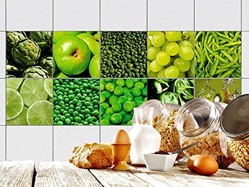 GRAZDesign Fliesenaufkleber glänzende Folie - Klebefliesen Küche Set grünes Motiv - Fliesenfolie grün - Fliesen überkleben Apfel / 15x15cm / 770339_15x15_FS10st