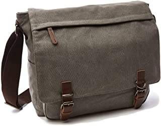 Men Classic Canvas Messenger Shoulder Bag, Adjustable Shoulder Strap Big Capacity Crossbody Sling Bag Convenient Retro Style Leisure Hiking Sports Outdoor (Color : Gray)