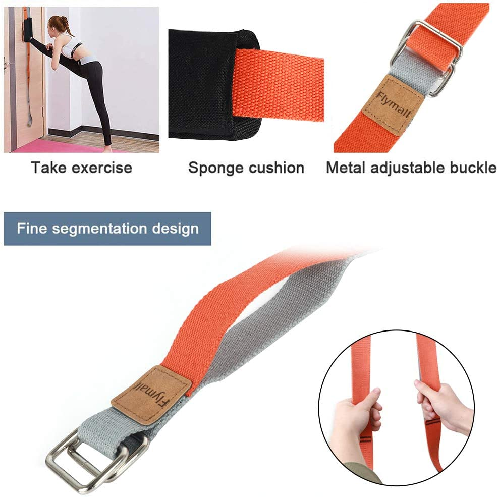 Yoga Stretching Strap Leg Stretcher Backbend Assist Trainer Pilates Equipment for Home Workouts Back Waist Leg Flexibility Door Strap for Pilates Ballet Dance Splits Gymnastics