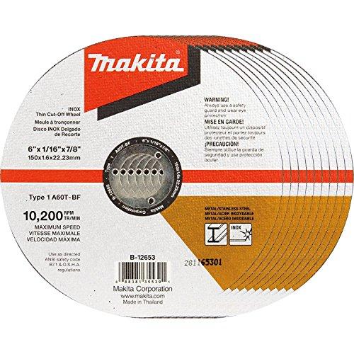 Makita b-12653–106'x .060' x 7/8'Inox fino corte Rueda, 10/PK