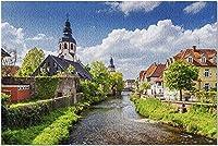 HDバーデンヴュルテンベルク州ドイツ-エットリンゲン9038cm866の川ALBによる街並み(大人52x38cmのプレミアム500ピースジグソーパズル)