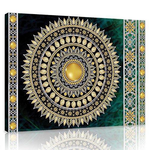 ForWall Bilder Canvas Golden Mandala in Smaragd - O1 (100cm. x 75cm.) Leinwandbilder Wandbild AMFPP10121O1