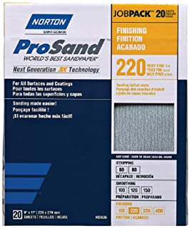 Norton ProSand A259 3X High Performance Sanding Sheet 11 in x 9 in 20 Count Pack of 2, 40 Sheets Total Job Pack 120 Grit