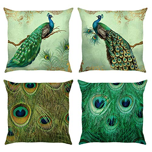 Bonhause Peacock Cushion Covers 18 x 18 Inch Set of 4 Peacock Feather Teal Decorative Throw Pillow Covers Cotton Linen Square Pillowcases for Sofa Couch Car Bedroom Indoor Outdoor Decor, 45cm x 45cm