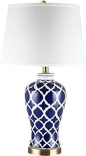WRJ Azul Y Blanco Lámpara De Mesa De Porcelana, Dormitorio Botón Interruptor De La Lámpara De Noche Salón De Cerámica Lámpara De Mesa Creativa Azul Mesita De Noche Blanca,Azul