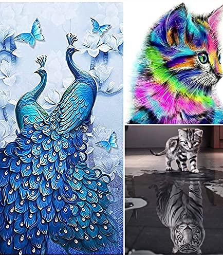 Fitlife 5D Diamant Painting Bilder Set DIY Crystal Strass Stickerei für Home Wand Decor Diamond Paingting zubehör Dekoration(Kleine Katze MöChte GroßEr Tiger) 47 x 47cm…