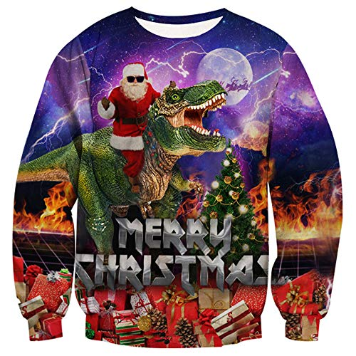 Loveternal Teen Girls Fire Dinosaur Outfit Sweater Santa Claus Ugly Merry Christmas Youth Casual Crew Neck Jersey Pullover Festival Sweatshirts T Shirts L