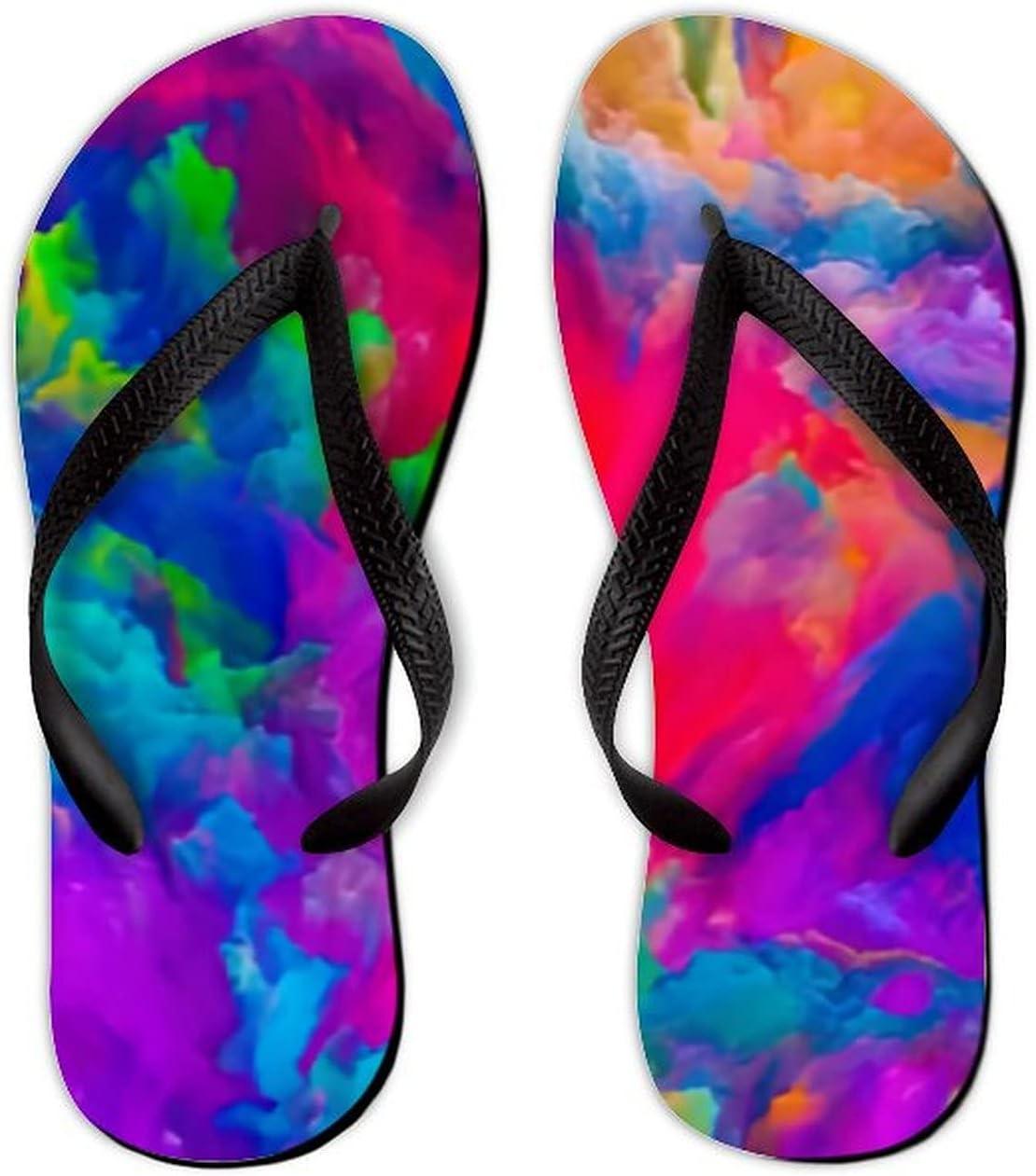 Summer Flip Flops for Men Women Colors Imagination Series Colorful Soft Lightweight Non Slip Sandals for Shower Beach Pool Bathroom Flat 6.5