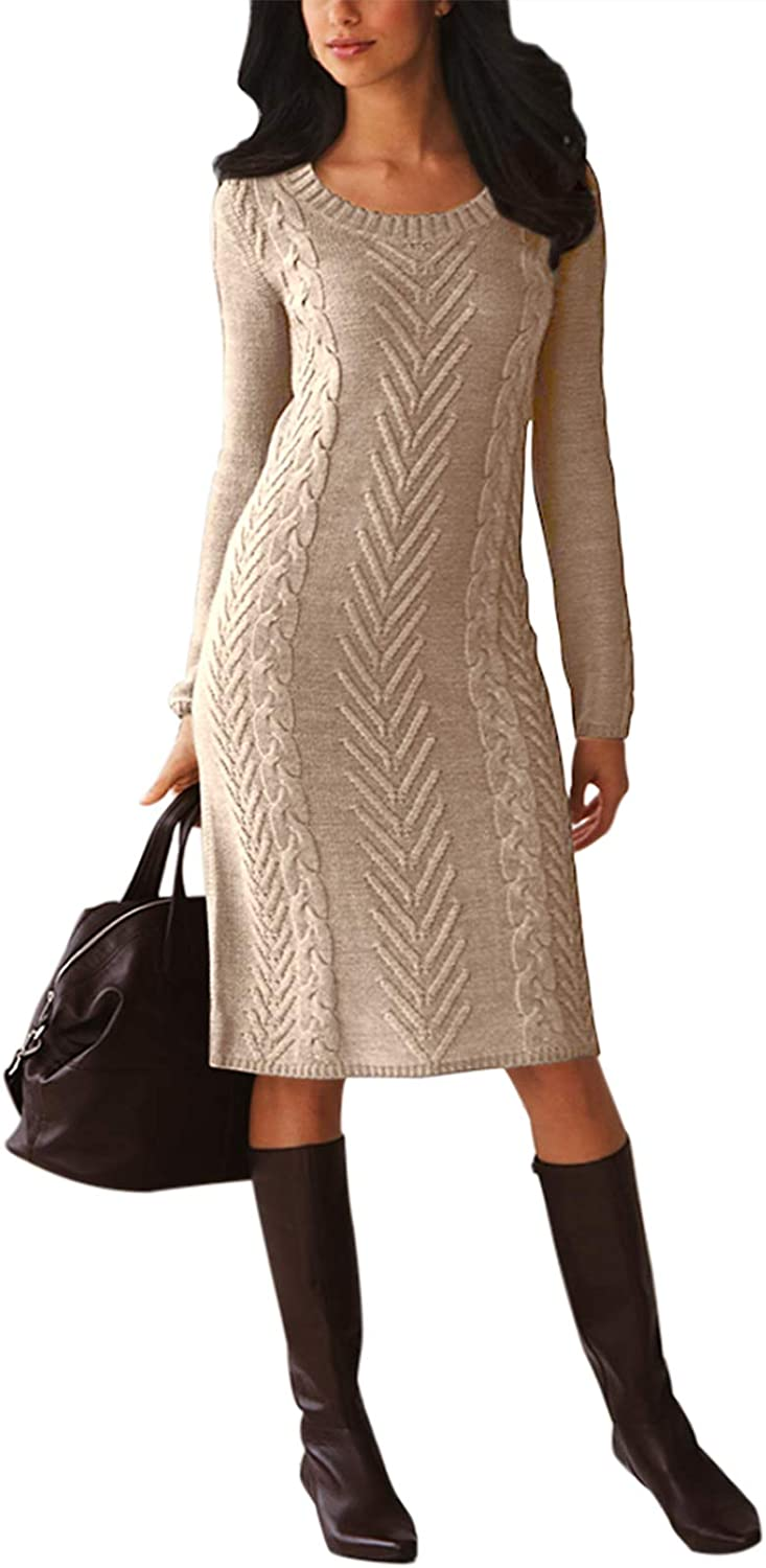 Happy Sailed Women Knotted Sweater Dress V Neck Long Sleeves Tie Waist Knitted Sweater Pencil Dress