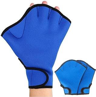 ZSZBACE Swimming Paddles, Fingerless Men and Women Paddles, Swimming Training Equipment, Diving Gloves for Swimming Training (Blue, M) (Blue, S)