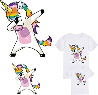 Unicorn Patches Iron On Clothes Deco Heat Transfer Sticker Badges DIY Accessory for Families Lovely Unicorns Transfer Patches DIY Appliques Decoration(2 PCS)