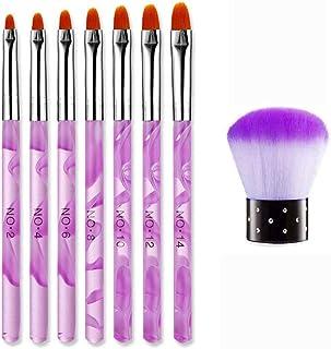 JMEOWIO 8Pcs UV Gel Nail Brush Set, Poly Extension Gel Brush Nail Art Dust Remover Brushes, Nail Art Tips Builder Brush Nail Painting Brush Pen Set for Home and Salon Use(Purple)
