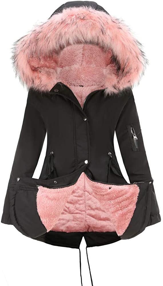 GZDMFS Women's Fleece Lining Jacket Hooded Fur Collar Warm Coat Winter Parka Outwear Zipper Pockets