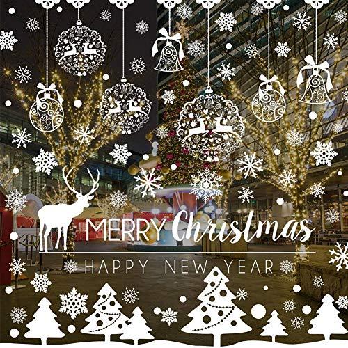 BESTZY Vetrofanie Fiocchi 233 PZ Vetrofanie Renna Fiocchi di Neve per Natale Fai da Te Decorazione...