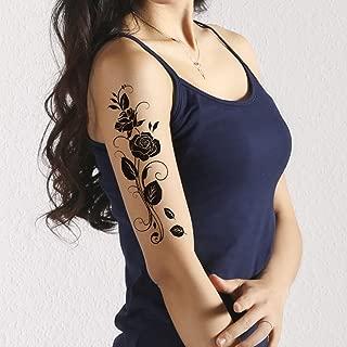TAFLY Temporary Tattoos Black Rose Flower Vine Sexy Transfer Tattoos Body Art for Women 5 Sheets