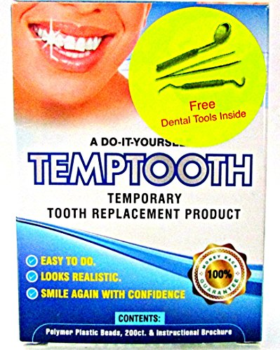 Temptooth, Temporary Tooth Replacement Kit, Replace Missing Teeth with Moldable Plastic Beads, Do It...