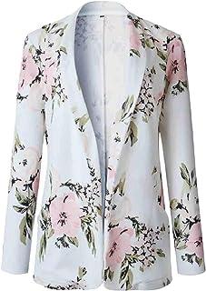 maweisong 女性ロングスリーブ花プリントスリムファッションブレザーコート