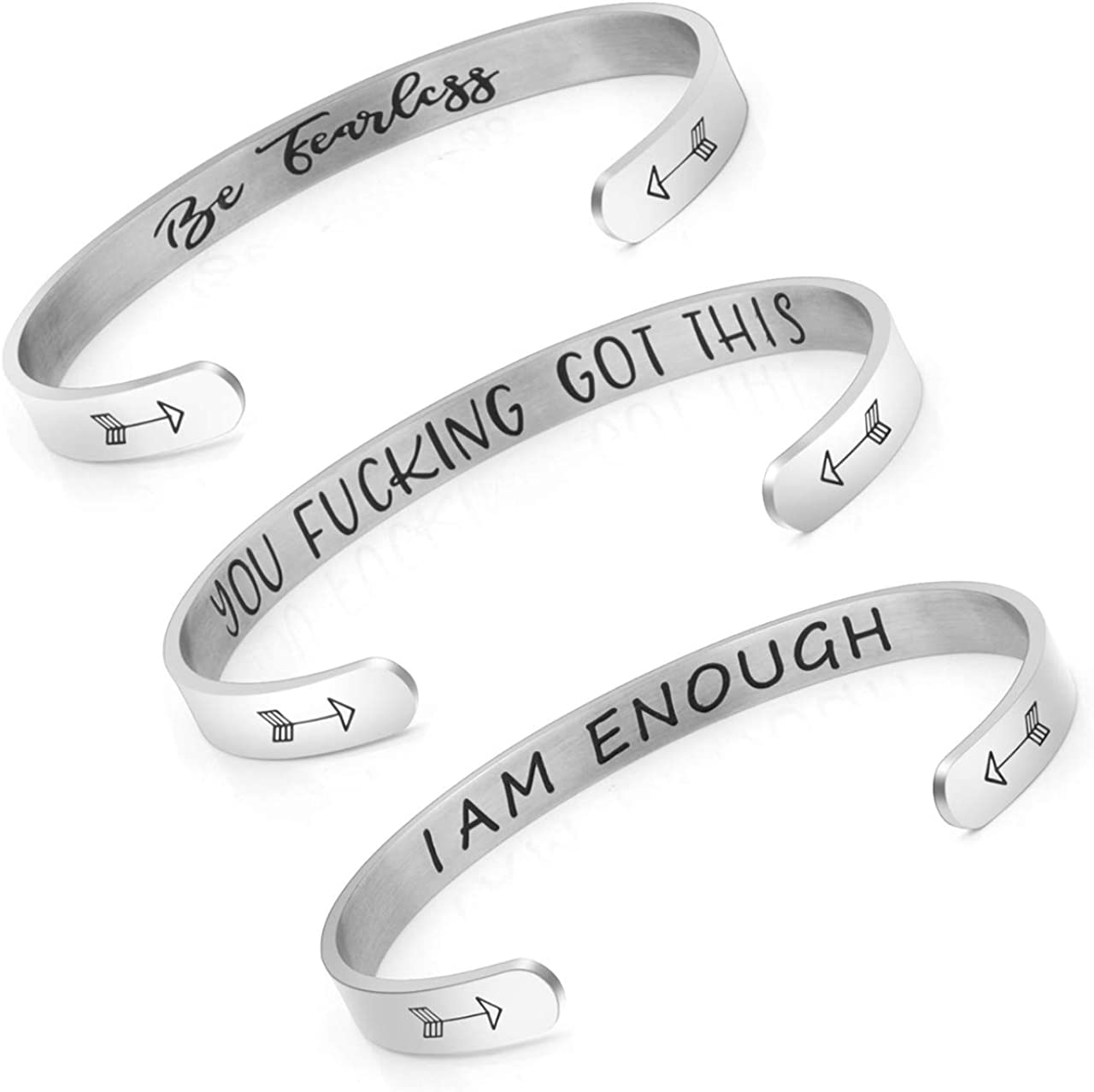PiercingJ 3pcs Custom Engraving Inspirational Gifts You Fking Got This/Be Fearless/I Am Enough Stainless Steel Open Cuff Hidden Message Bracelet, Best Friends BFF Motivational Bangle