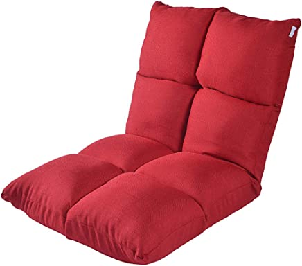 懒人沙发 扶手榻榻米小沙发椅单人折叠沙发床上靠背椅八格5档调节 (酒红)