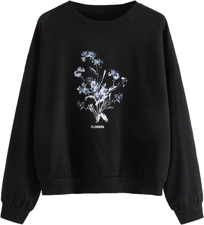 Romwe Women's Casual Floral Letter Print Long Sleeve Loose Sweatshirt Pullover