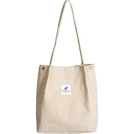 Etercycle Cord Umhängetasche Damen, Schultertasche Groß Cord Tasche Lässige Tote Handtasche Fashion Stofftasche für Alltag, Büro, Schulausflug und Einkauf - Beige