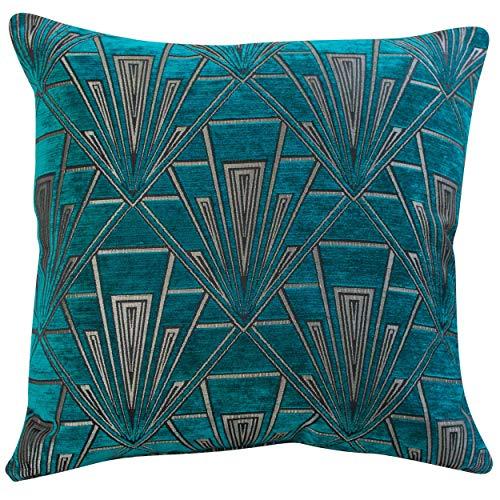 Funda de cojín de Art Deco extragrande. Chenilla de terciopelo de doble cara. Diseño azul y plateado. Cojín de piso de 58 x 58 cm. Diseño geométrico. Estilo de los años 20 y 30. Relleno de plumas