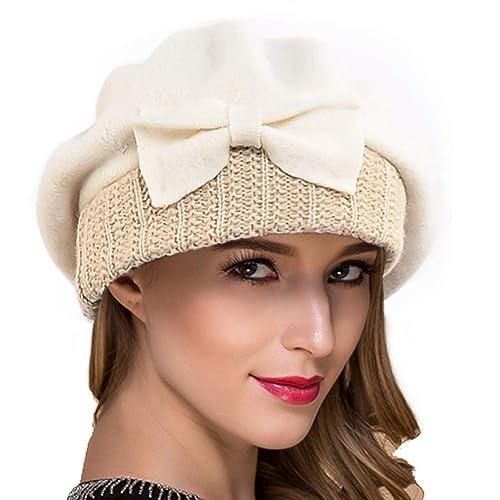 b0e0ad971a9 Ruphedy Women French Beret - 100% Wool Beret Knit Beanie Winter Dress Hat  Hy022