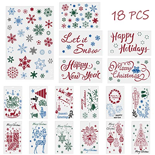 Reusable Christmas Stencil for Painting, 18pcs Merry Christmas Stencil Template Set for Your Own DIY Craft Painting Project