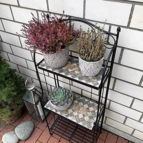K&L Wall Art Mosaik Blumentreppe Blumenregal Blumenhocker Pflanzenständer Blumenständer Stein Balkon Garten Wetterfest Frostsicher (Metallregal Mosaik mit 3 Regalfächern)