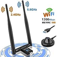 Jusale WiFi USB 1200Mbps, Antena WiFi Adaptador Wireless USB 3.0, Receptor de Red con 2x5dBi Antenas para PC/Desktop/Laptop, Dual Band 2.4GHz/5GHz, Soporte de Windows10/8/8.1/7/XP, Mac OS X 10.6-10.14