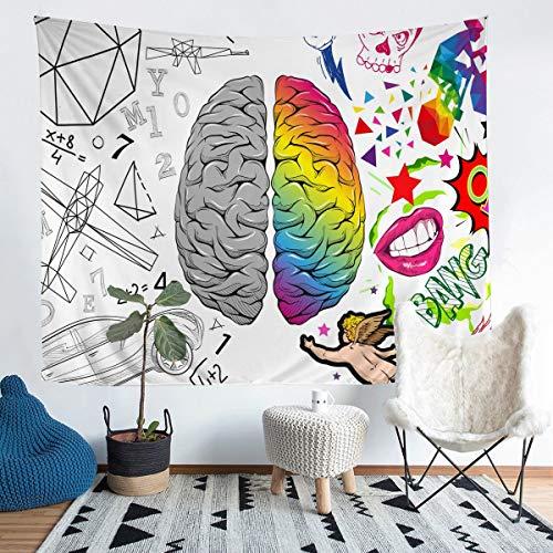 Tapiz cerebral para colgar en la pared, diseño de inteligencia, para niños, niñas, patrones geométricos, tapiz de pared, pintado a mano, decoración para dormitorio, sala de estar, grande, 122 x 182 cm