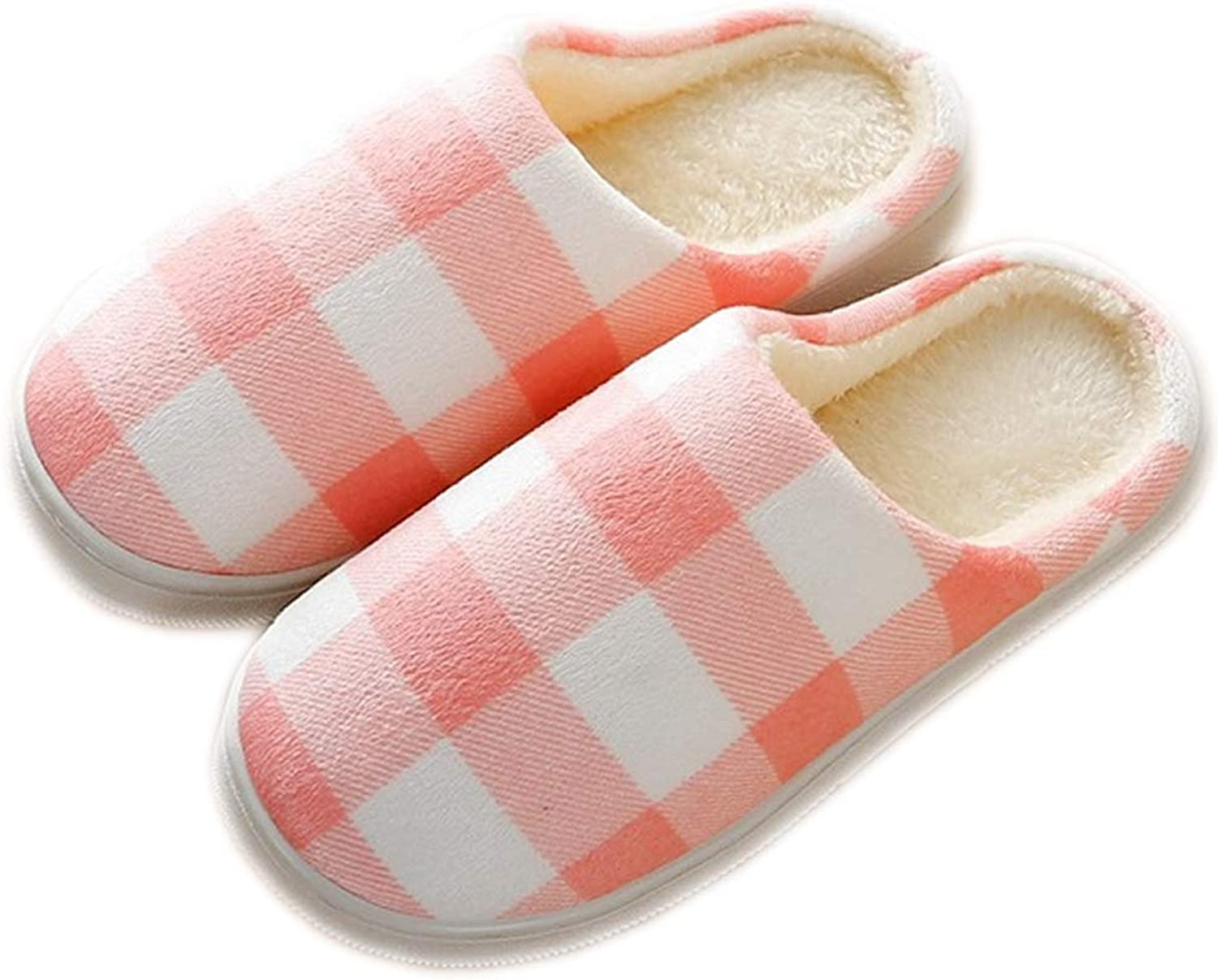 QHero House shoes Women's Men's Warm Plaid Slippers Cotton Home shoes Comfortable Fleece Memory Foam Plush Lining Slip-on Cozy Clog House shoes Indoor & Outdoor