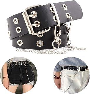 Shuxy Grommet Belt Soft Waist Belt Vintage Belt Women Belt Faux Leather Belts 2 Holes Belt Black Belt Buckle Hole Belt PU ...
