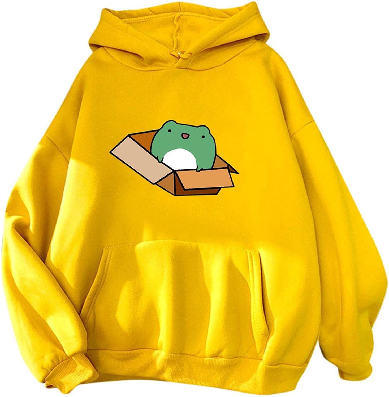 ONHUON Sweatshirts for Women, Womens Girl Cute Frog Print Long Sleeve Hoodies Casual Loose Hooded Sweatshirt Blouse Tops