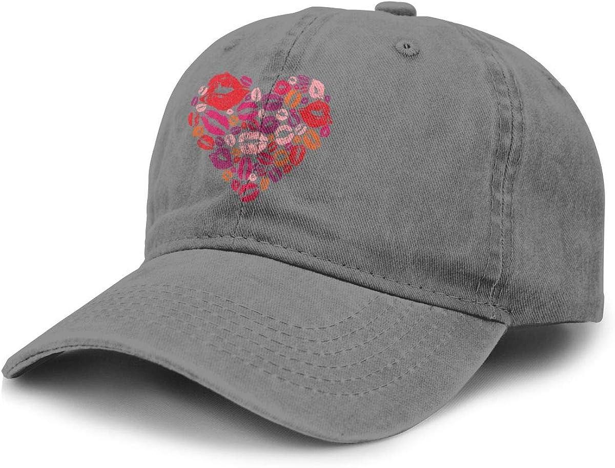 TZT Lip Print Cowboy Hat Sports Baseball Cap Adjustable Hat Unisex Deep Heather