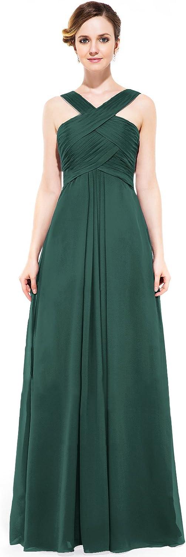 Loffy Women's Long Prom Evening Dress Gown Bridesmaid For Wedding Dark Green Size 14