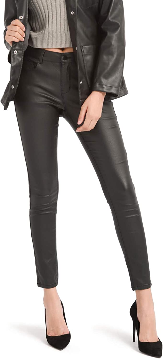 Outstanding Bamans Women's Max 69% OFF Faux Leather Pants Poc with Skinny Stretch