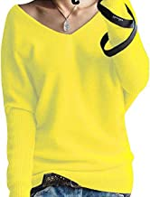 Tomsweet Women Fashion Casual Winter Warm Deep V Neck Sexy Knit Bat Sleeve Solid Color Pullover Knit Short Sweater Jumper Tops