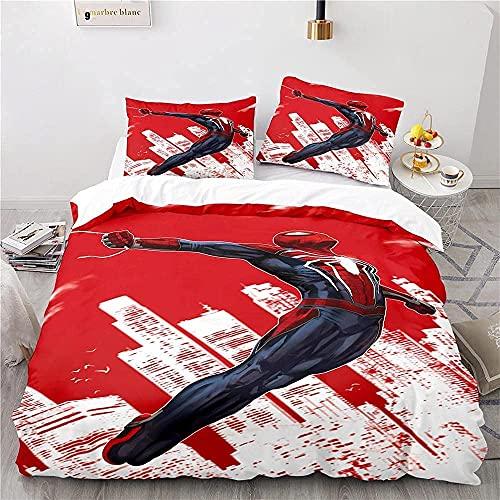 LXSMGS SPI-der-Man Juego de ropa de cama infantil con dibujos animados 3D, adecuado para todas las estaciones, adecuado para hombres y mujeres (Spider1,135 x 200 cm + 80 x 80 cm x 2)