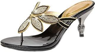 U-MAC Womens Thong Flip-Flops Heeled Sandals Faux Rhinestone Bohemian Stiletto Party Slippers