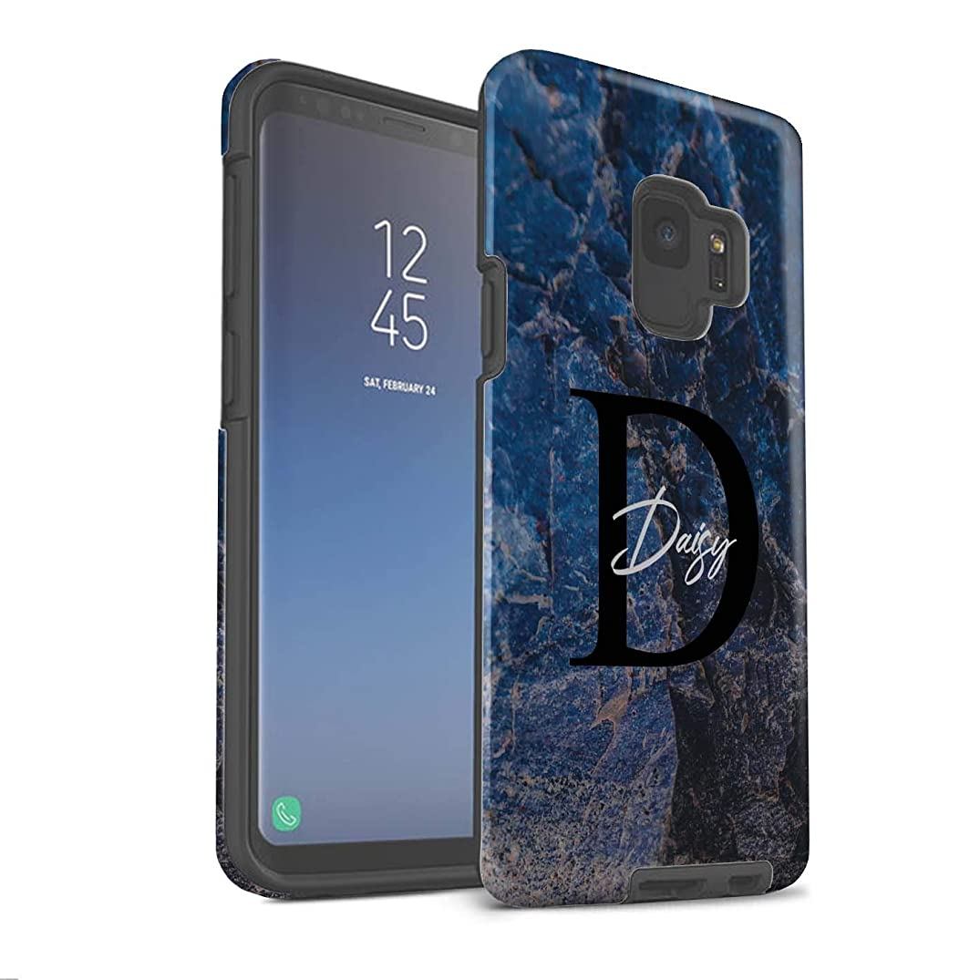 Personalized Custom Marble Stone Fashion Matte Case for Samsung Galaxy S9/G960 / Blue Pearl Granite Design/Initial/Name/Text Shockproof DIY Cover