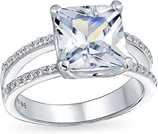 3CT Square Princess Cut AAA CZ Engagement Ring For Women Cubic Zirconia Split Pave Shank Band 925 Sterling Silver
