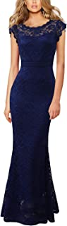VFSHOW Womens Floral Lace Fitted Formal Prom Evening Party Mermaid Maxi Dress