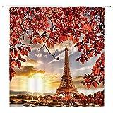 Feierman Romantic Fall Eiffel Tower Shower Curtain Decor Autumn Red Leaves Sunset Paris Bathroom Curtain Decor Set with Hooks