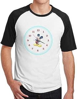AiguanMen Mickey Mouse Clock Short Sleeve Baseball Tee Raglan T-Shirt Black