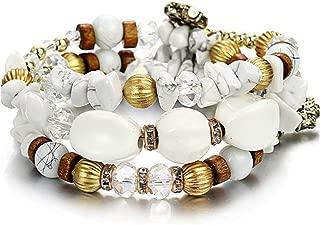 Bohemian Natural Stone Beads Bracelets Women Vintage Crystal Tibetan Ethnic Beaded Wrap Charm Bracelet Jewelry
