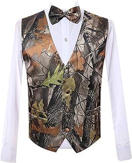 سترات رجالي CYStailor 5 أزرار ملابس خارجية مموهة اللون (صدرية + فيونكة)