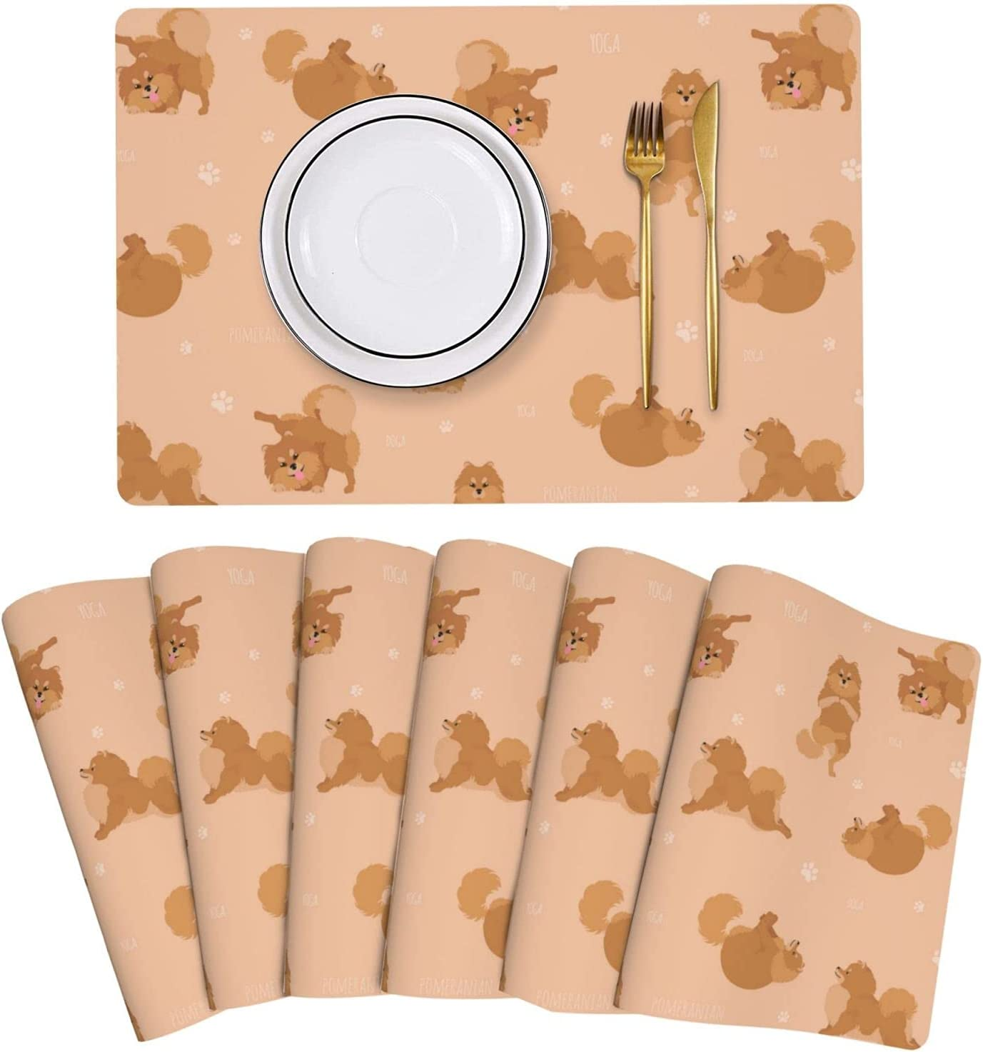 Pomeranian Yoga Poses Placemat Leather Table Set Manufacturer regenerated product of Mats Easy 6 Selling